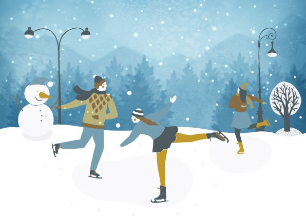 Ice Skaters in the Snow